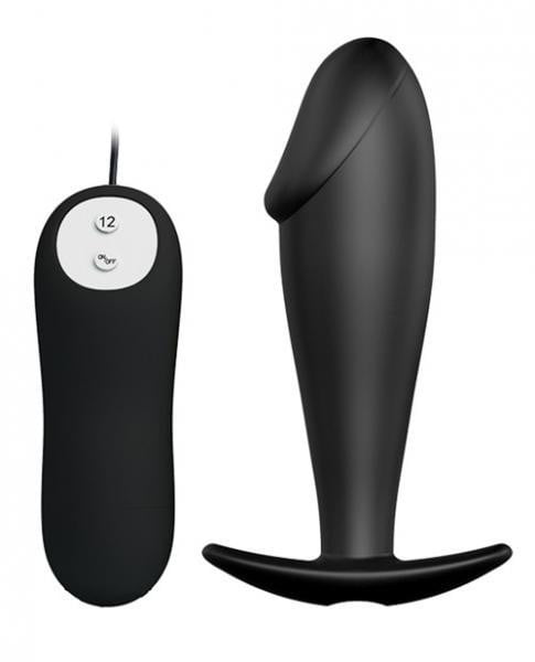 Pretty Love Vibrating Penis Shaped Butt Plug Black-Liaoyang Baile Health Care-Butt Plugs