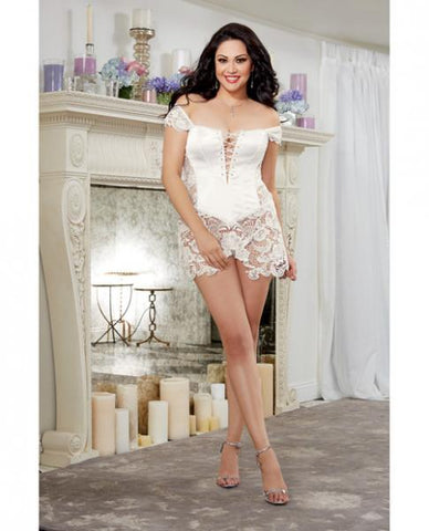 Venice Lace Fully Boned Corset Skirt & Thong Pearl 44