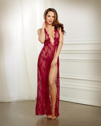 Holiday Lace Gown & G-String Garnet Large-Lingerie