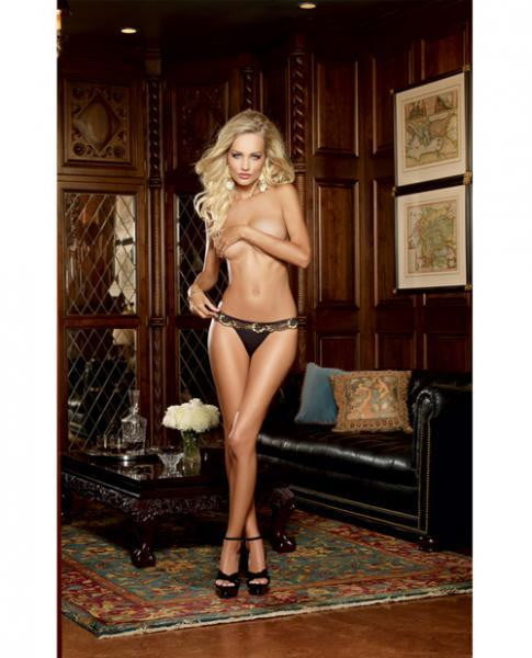 Cross Dye Lace & Microfiber Thong Black/Gold Sm-Lingerie
