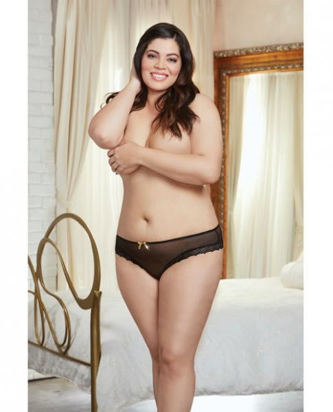 Holiday Mesh Cheeky Panty Black Gold 3X/4X-Lingerie