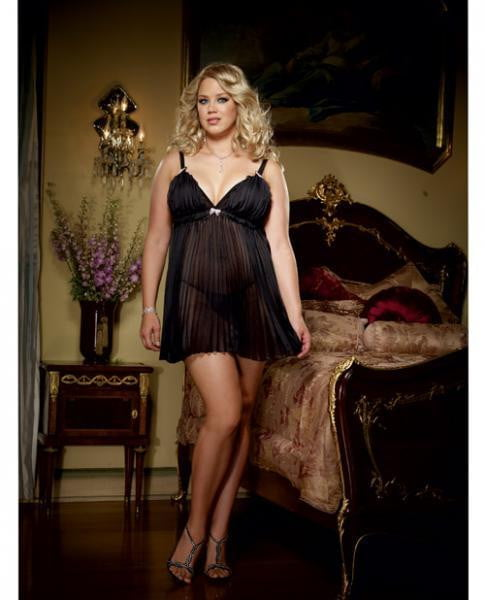 Pleated Chiffon Babydoll & Thong Black 3X/4X-Lingerie