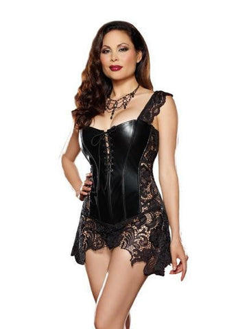 Faux Leather Venice Lace Boned Corset Skirt & Thong Black 40