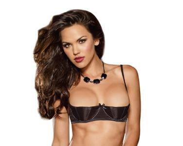 Satin Open Cup Underwire Shelf Bra Black 36-Lingerie