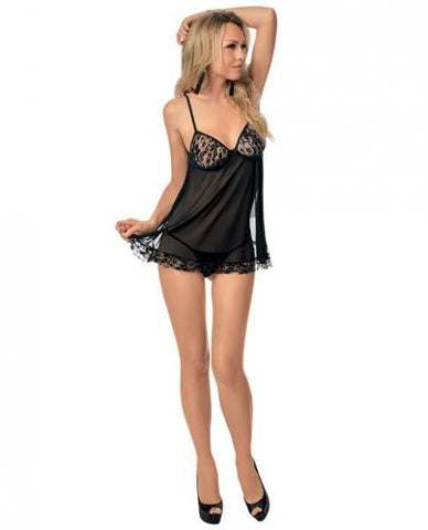 Lace & Mesh Babydoll Black O/S-Lingerie
