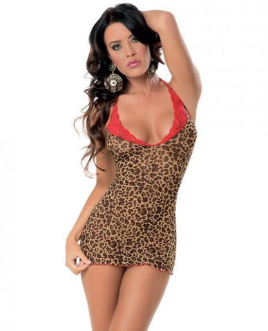 Chemise Red Lace Trim & Panty Leopard O/S-Lingerie