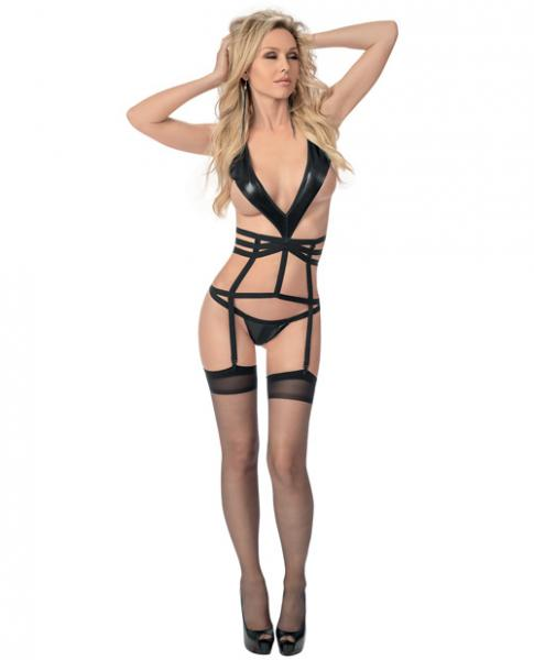 Strappy Collared Bustier with Hose Black O/S-Bustier Lingerie