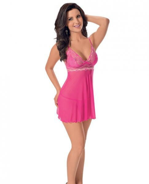 Lace Babydoll Adjustable Straps Fuchsia Small-Lingerie