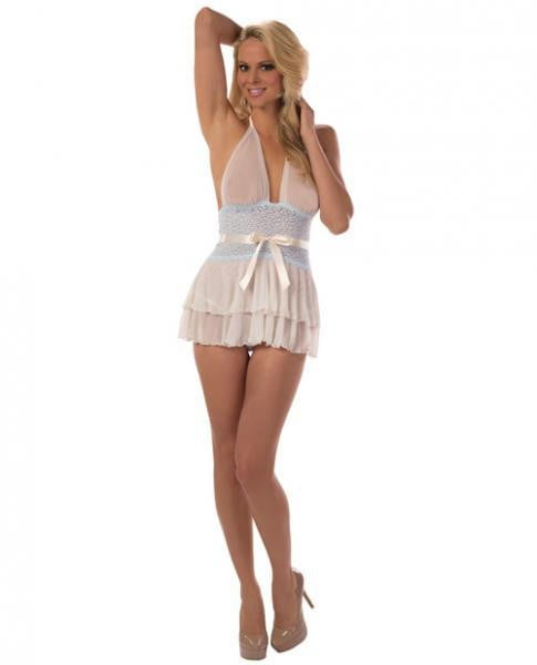 Sheer Lace Halter Chemise Ivory/Sweet Blue Small-Lingerie