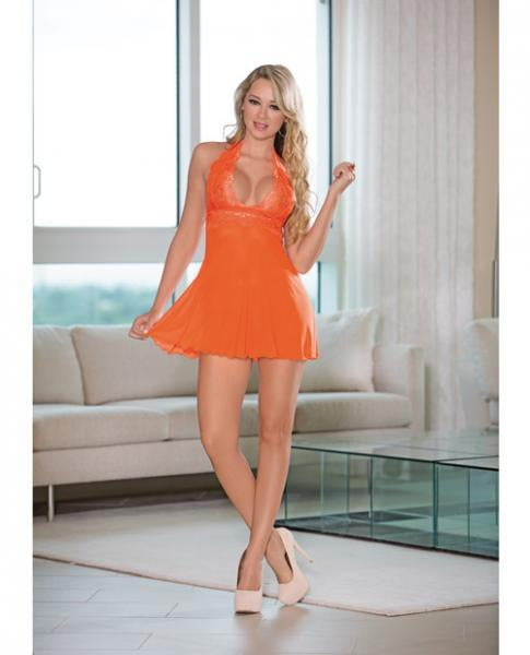 Sheer Halter Tie Babydoll Lace Sunset Orange Medium-Lingerie