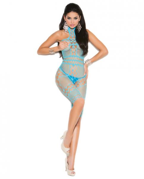 Vivace Halter Neck Mid Length Bodystocking Turquoise O/S-Lingerie