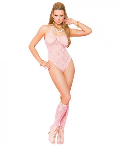 Vivace Lace Teddy & Stockings Baby Pink O/S-Lingerie