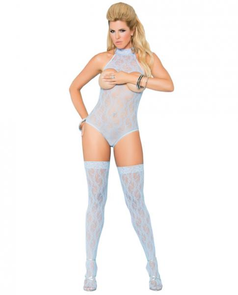 Vivace Cupless Lace Teddy and Stockings Blue Qn-Lingerie