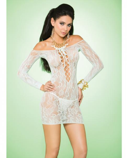 Vivace Long Sleeve Lace Mini Dress Mint Green O/S-Lingerie