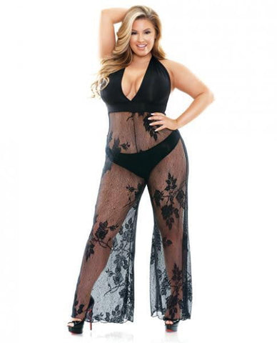 Nicki Lace Halter Jumpsuit Black 1X/2X-Lingerie