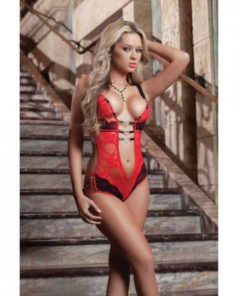 Fully Laced Teddy Heart Charms Red OS-Lingerie