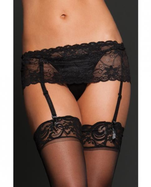 Lace Garter Belt Adjustable Strap Black O/S-Lingerie