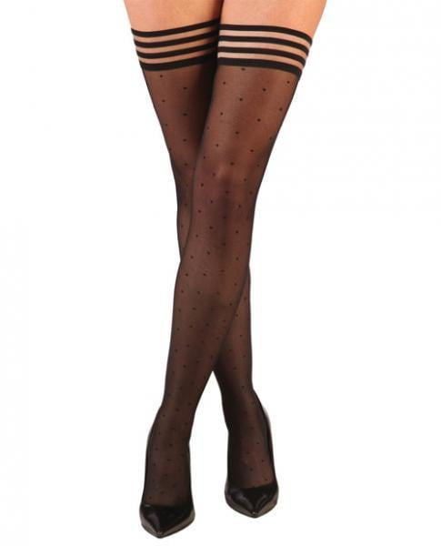 Ally Polka Dot Thigh High Stockings Black Size C