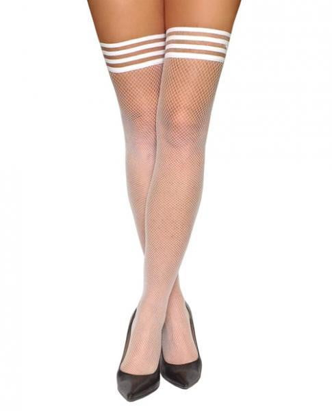 Kixies Sammy Fishnet Thigh Highs White A-Lingerie