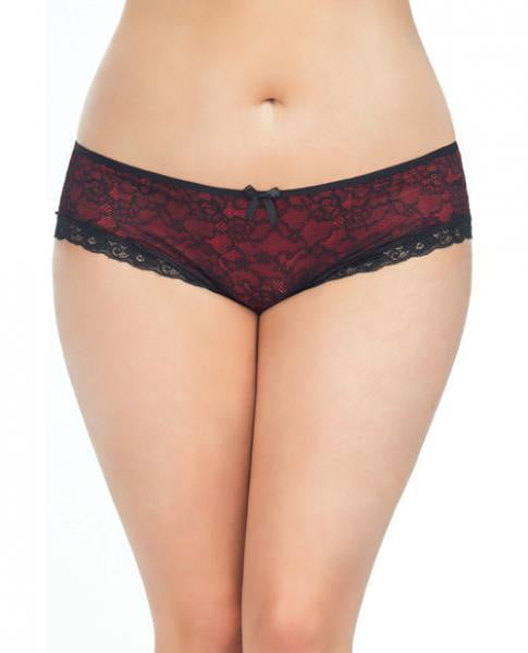Cage Back Lace Panty Black Red 1X/2X-Lingerie