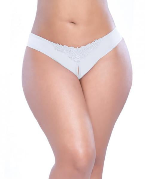 Crotchless Thong with Pearls White 1X/2X-Lingerie