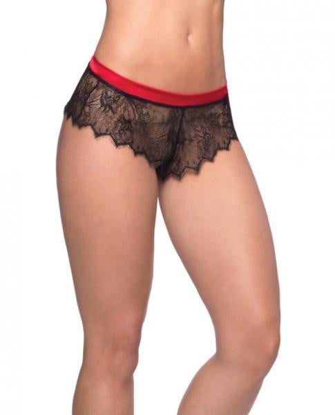 Open Back Eyelash Lace Satin Tie Panty Black Red S/M-Lingerie