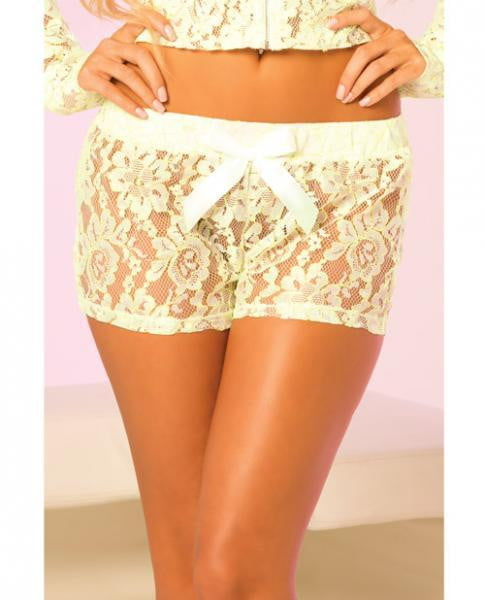 Loungwear Lace Lounge Shorts -Green Medium-Lingerie
