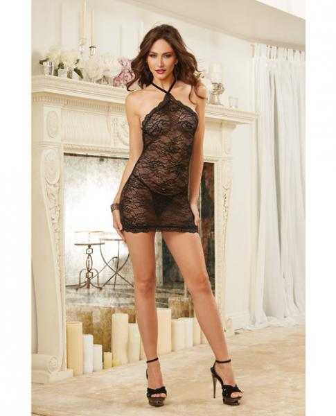 Stretch Lace Chemise Criss-Cross Back & G-String Black O/S-Lingerie