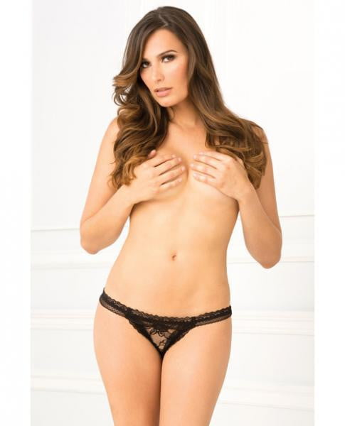 Crotchless Lace Panties Black M/L-Lingerie
