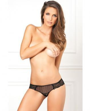 Rene Rofe Crotchless Lace n' Dots Panty Black S/M-Lingerie
