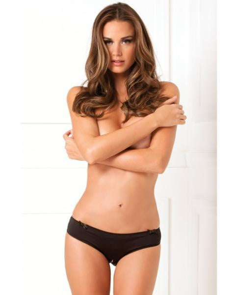 Rene Rofe Black Magic Crotchless Open Back Panty Black S/m-Lingerie