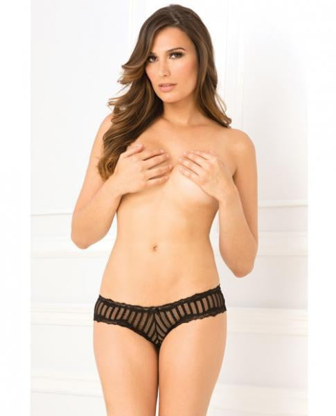 Crotchless Striped Mesh & Lace Panty Black M/L-Lingerie