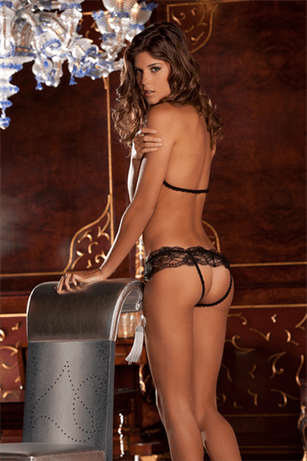 Rene Rofe Lace Peek-A-Boo Bra and Crotchless Panty Set - Black S/M-Lingerie