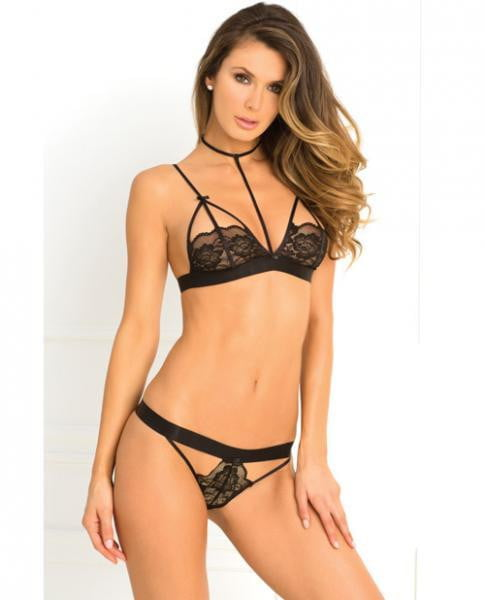 Rene Rofe Hot Harness Bra & Panty Black S/M-Lingerie