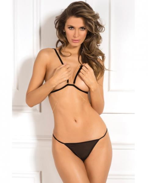 Open Cup Bra, G-String & Chain Black O/S-Lingerie