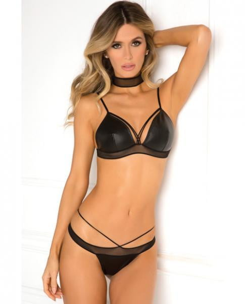 Rene Rofe Net Your Babe Choker Bra Set Black M/L-Lingerie