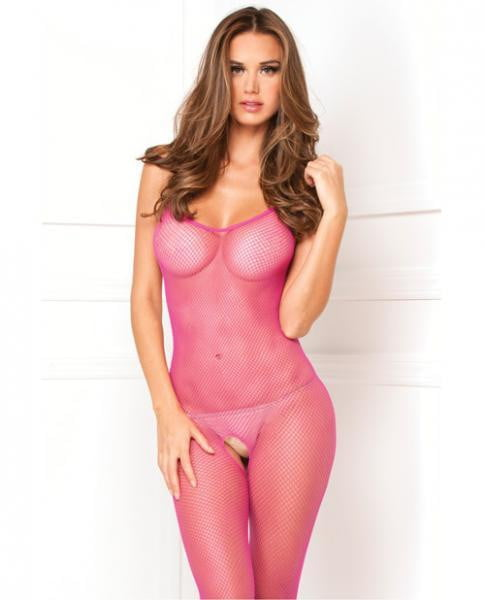 Rene Rofe Halter Fishnet Bodystocking Hot Pink O/s-Lingerie
