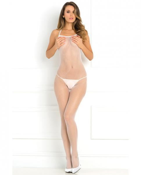 Halter Fishnet Bodystocking White O/S-Lingerie