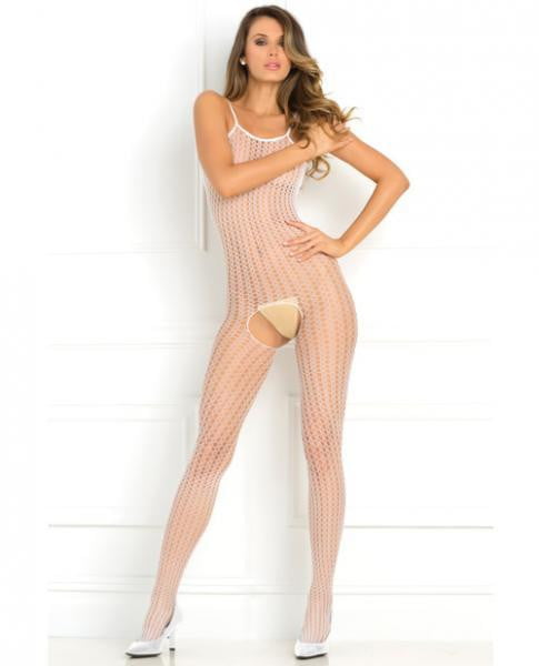 Quarter Crochet Net Bodystocking White O/S-Lingerie