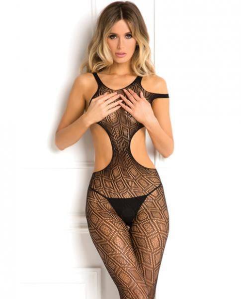 Rene Rofe Made The Cut Bodystocking Black O/S-Lingerie