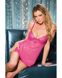 Valentines Lace Mesh Babydoll Sequins Fuchsia XL-Lingerie