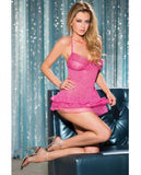Valentines Lace Mesh Chemise Sequin Ruffles On Bottom Fuchsia XL-Lingerie