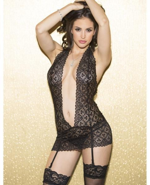Holiday Lace Chemise Open Front & Garters Black Md-Lingerie