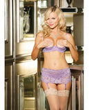 Stretch Lace Shelf Bra Demi Cup Lilac 32-Lingerie