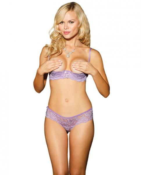 Stretch Lace Strappy Back Thong Panty Lilac XL-Lingerie