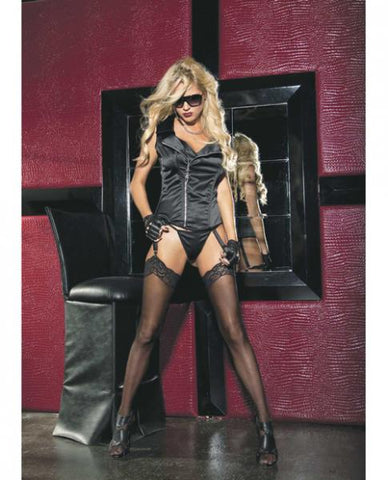 Stretch Satin Zipper Front Corset, Garters & G-String Black 36