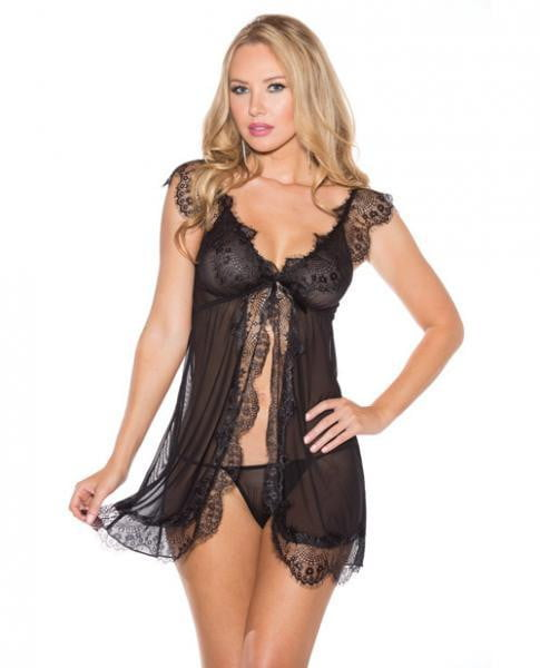 Sheer Chemise Lace Open Front & G-String Black 2X-Lingerie