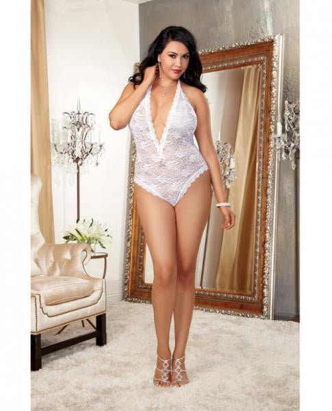 Halter Stretch Lace Teddy, Ties & Heart Cut Out White OQ-Lingerie