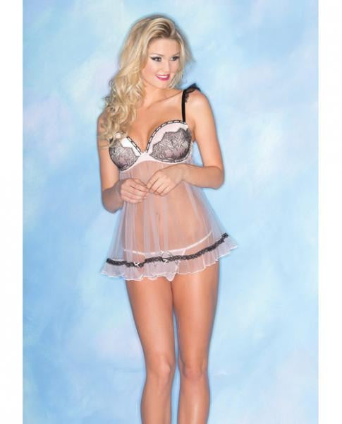 Sheer Chemise Lace Padded Cups & Thong Pink M-Lingerie