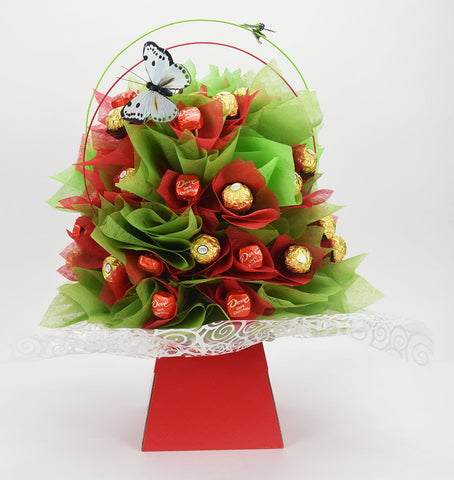 Red Ranunculus Chocolate Bouquet - Sensual Baskets | Romance Baskets With Benefits